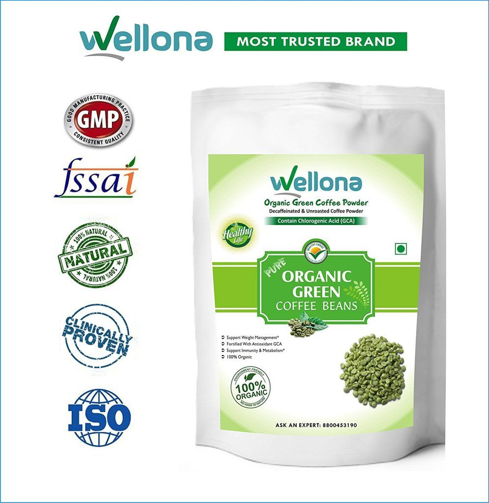 Buy Wellona 100 Pure Organic Green Coffee Beans Decaffeinated Unroasted For Weight Management 200 Gms At Rs 210