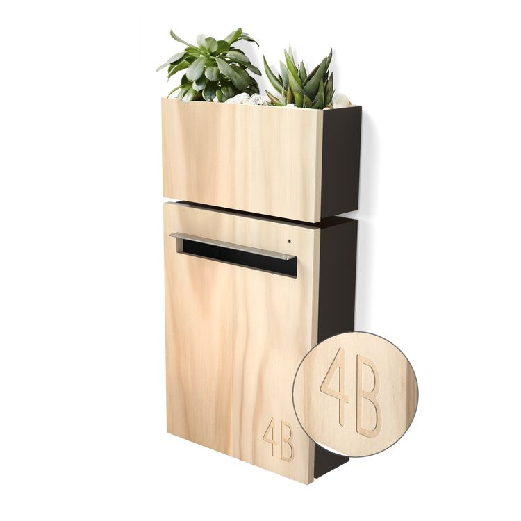 Wall mount letterbox planter charcoal with engraved