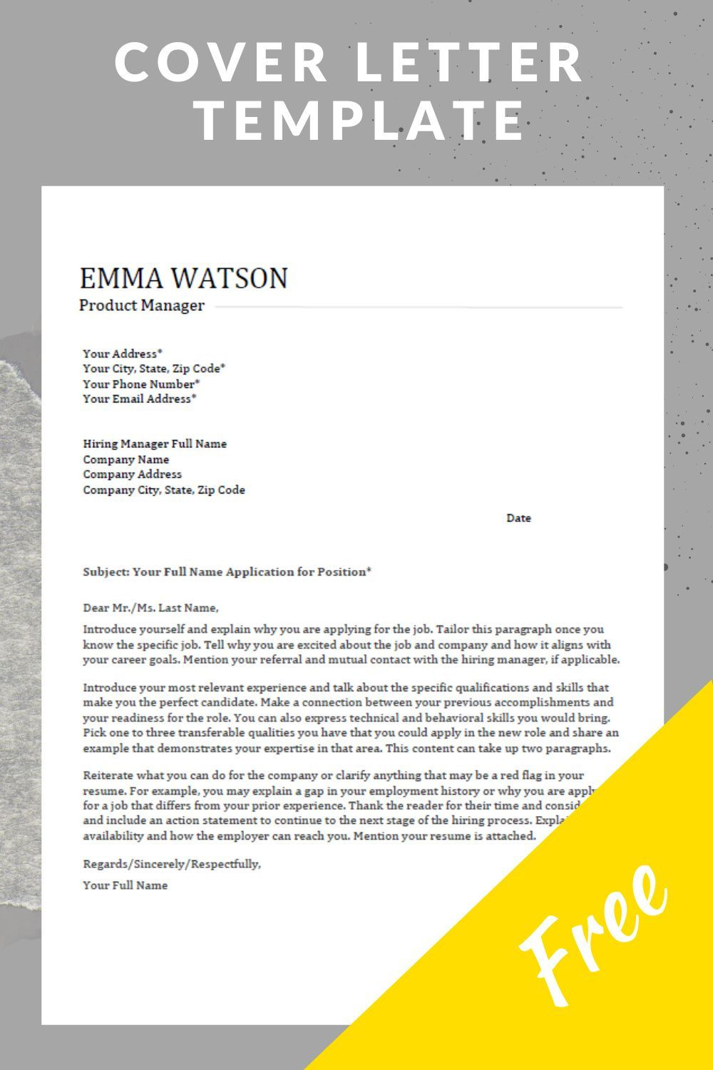 Pin On Cover Letter Template Free cover letter template download