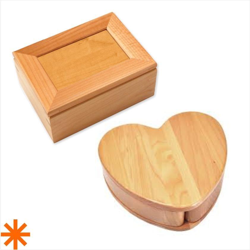 heart shaped keepsake box in maple