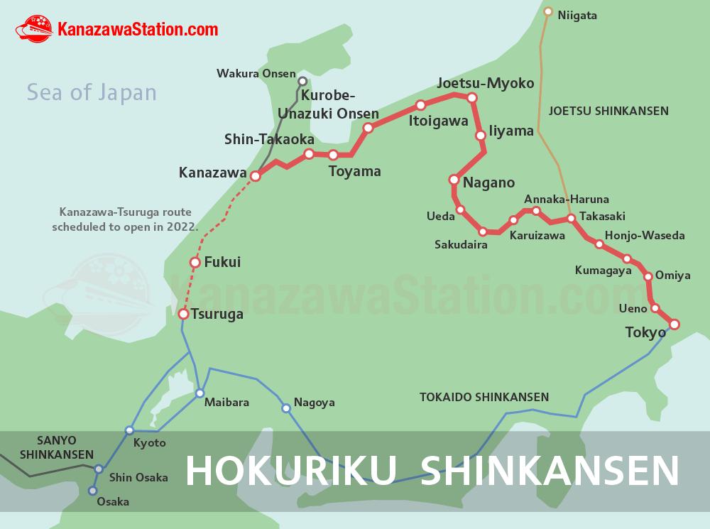 Hokuriku Shinkansen route map Kanazawa Pinterest Kanazawa