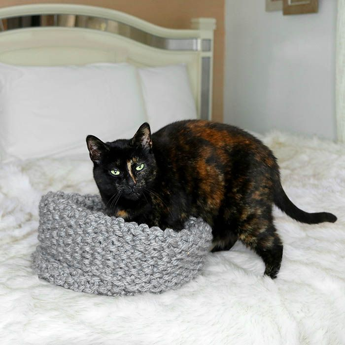 Easy Cat Bed Free Knitting Pattern | Cat beds | Pinterest