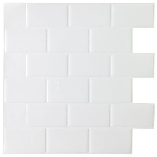 Art3d 12 X 12 Peel And Stick Kitchen Backsplash Tile White Subway Backsplash 6 Pack White Tile Backsplash Kitchen Backsplash Stick On Tiles