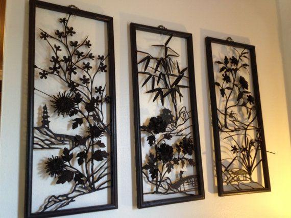Mid Century Asian Metal Wall Art Etsy Asian Wall Decor Metal Wall Art Wall Accessories