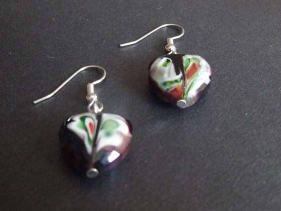 Purple Heart with Color Swirls Dangle Earrings by SperanzaEterna