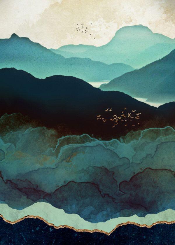 Displate Poster Indigo Mountains Indigo Mountains Hills Nature Landscape Birds Flock Gold Blue Navy Mint Aqua Wate Art Mountain Art Art Inspiration