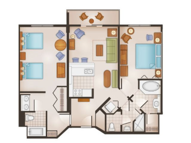 Saratoga springs 2 bedroom villa floorplan sleeps 8 for 2 bedroom villa floor plans