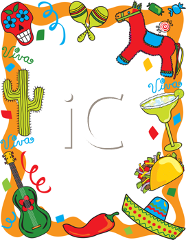 Royalty Free Clipart Image Of A Mexican Themed Border Cinco De