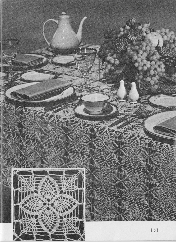 227 PDF Motif Tablecloth Crochet Pattern, Table Setting, Home Decor ...