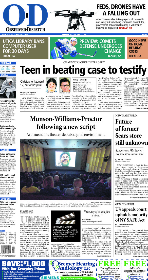 The front page for Tuesday, Oct. 20, 2015: Teen in beating case to testify