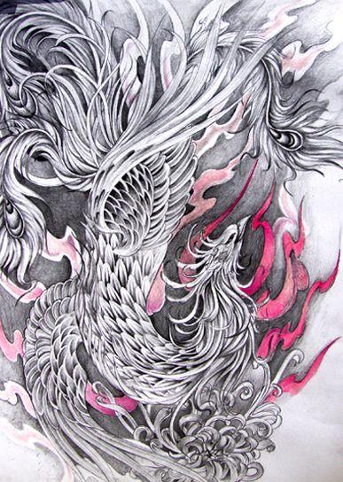 Phoenix Bird Drawings Phoenix Bird By Yodaken Phoenix Tattoo Japanese Phoenix Tattoo Bird Drawings