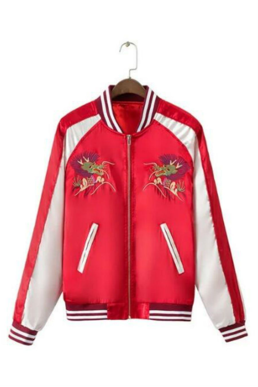 9415426af2a5 Fashion Red Dragon Embroidery Bomber Jacket