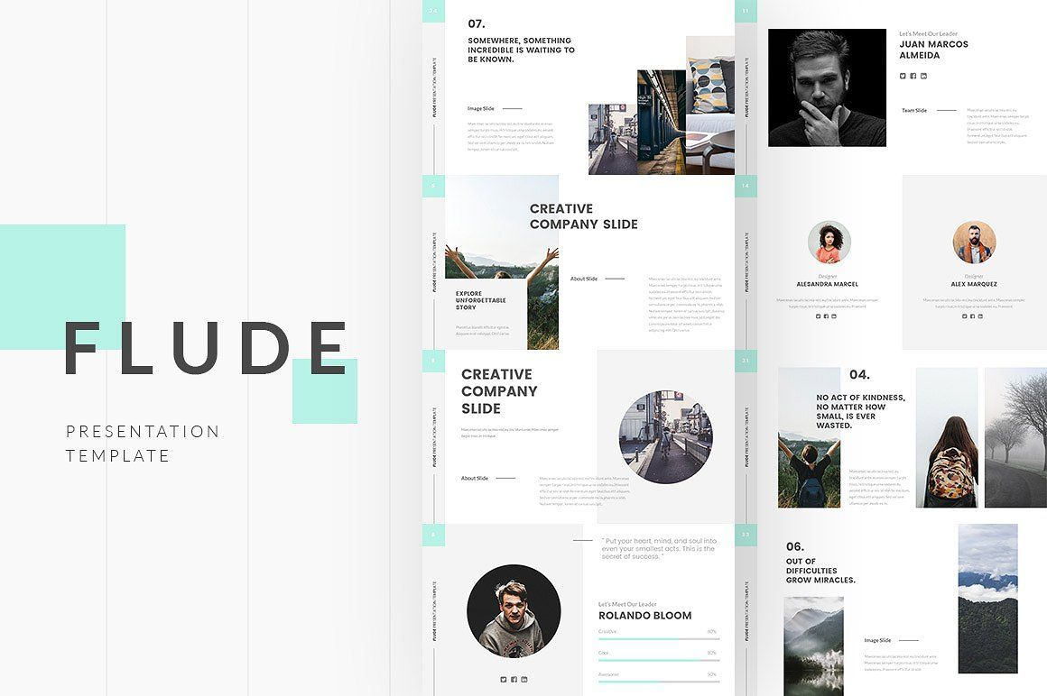 flude powerpoint template a unique professional clean creative simple presentation template all slides designed using great style all element easy