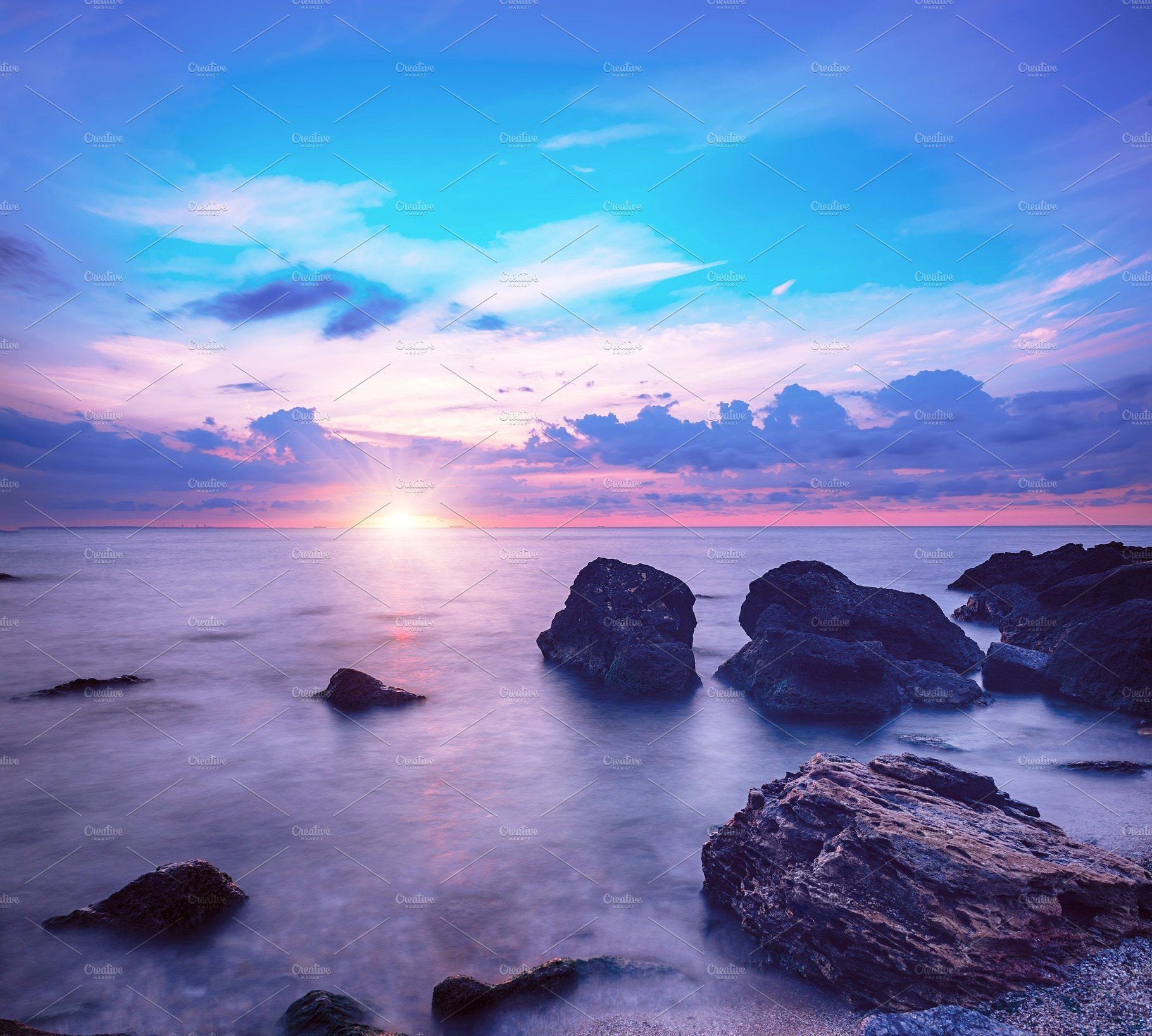 Beautiful Colorful Sunrise At The Sea With Dramatic Clouds And Boulders Beauty World Natural Outdoors T Landscaping Images Scenery Photography Beach Landscape
