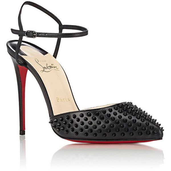 Christian Louboutin Baila Spiked Ankle-Strap Pumps ($995) ❤ liked on Polyvore featuring shoes, pumps, christian louboutin shoes, pointed toe high heels stilettos, ankle strap high heel pumps, pointy toe ankle strap pumps and pointed-toe pumps