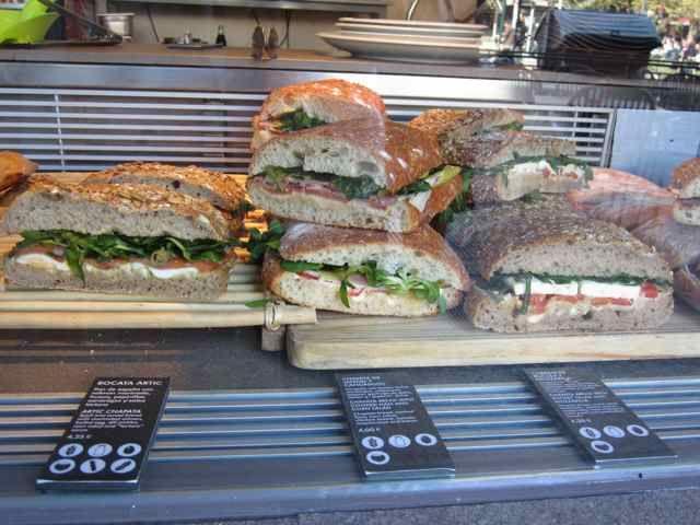 Caprese, salami, and tuna sandwiches from the market in Valencia