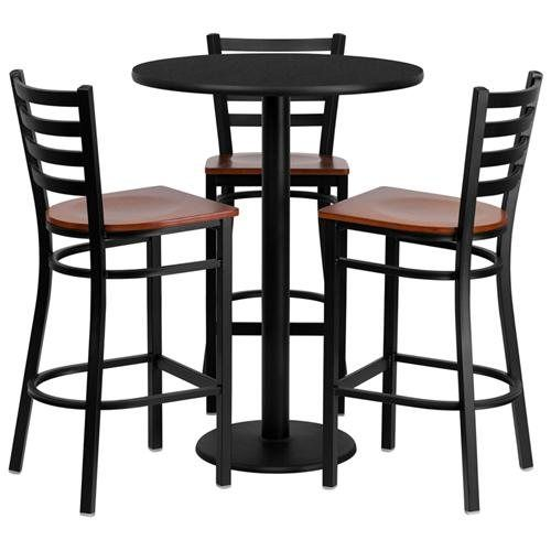 Bisonoffice Rakuten 30 Round Black Laminate Table Set With 3 Ladder Back Metal Barstools Cherry Wood Seat