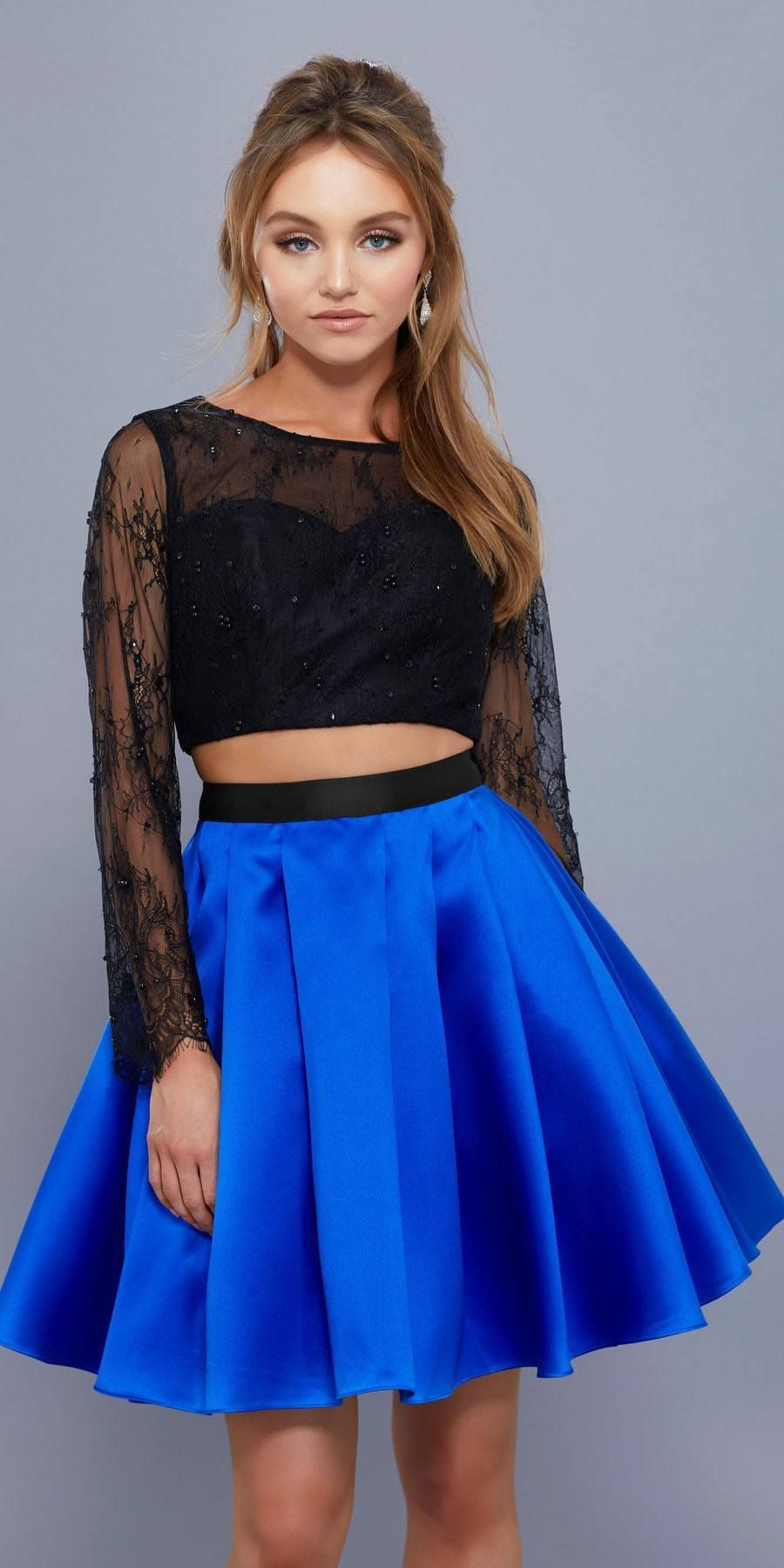Long sleeves lace top twopiece short prom dress royalblack th