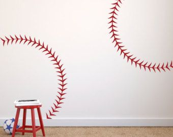 Baseball Stitching Stencil Large Baseball Seams Stitching Vi - Custom vinyl baseball decals