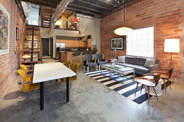 15 s jours anim s par un style industriel contemporain murs en brique apparente mur en brique. Black Bedroom Furniture Sets. Home Design Ideas