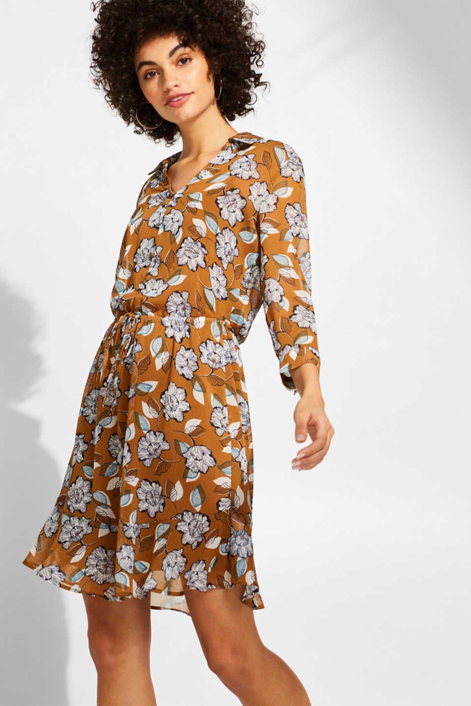 Esprit - Kleid aus Crinkle-Chiffon mit Taillen-Tunnelzug ...