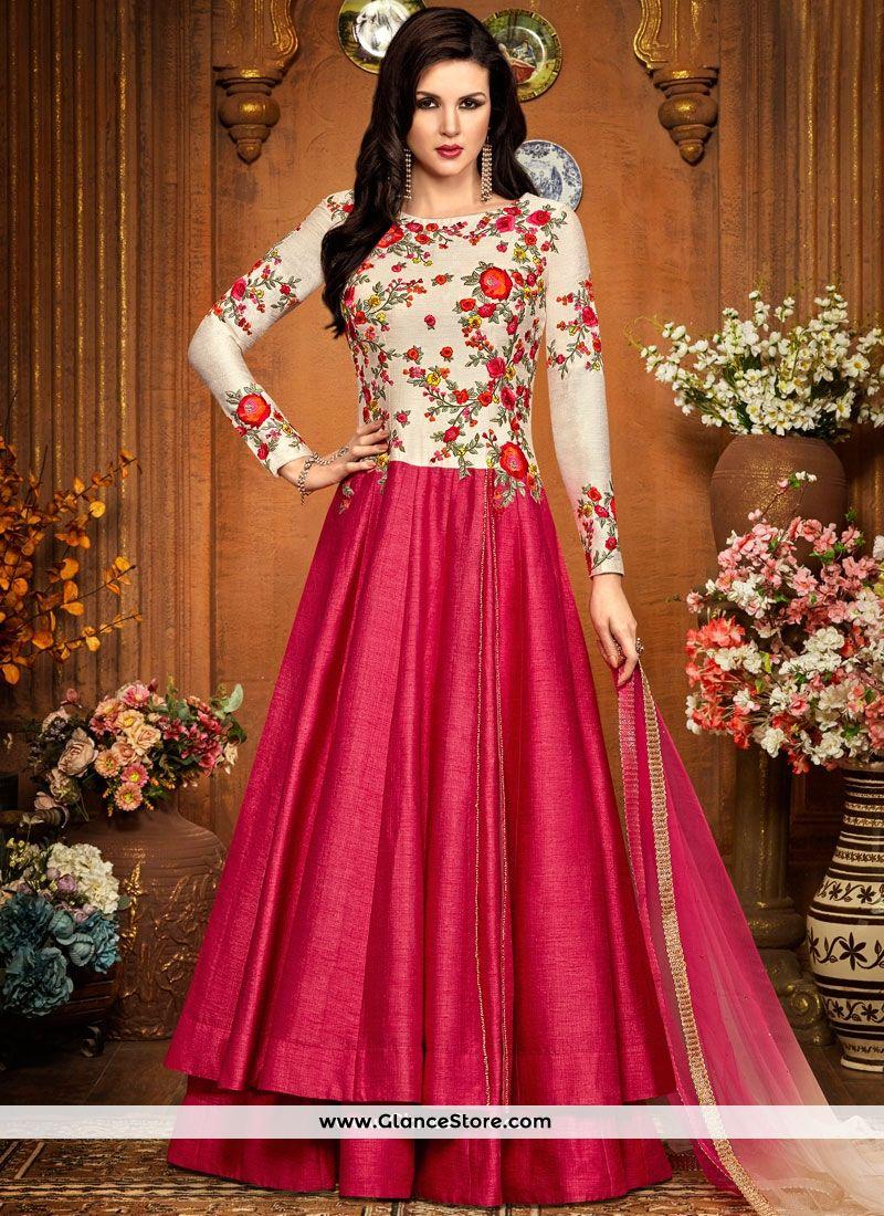 508c174dee Beauteous Faux Georgette Lace Work Floor Length Anarkali Suit | All ...