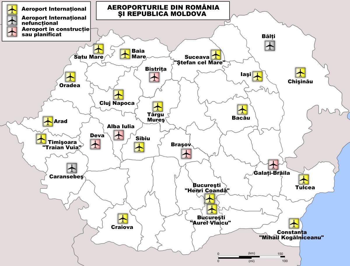 Listă de aeroporturi din România - Wikipedia   map   Map