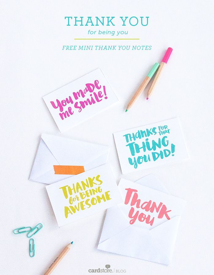 Thank you for being you u2014 free mini thank you notes Free - printable vouchers