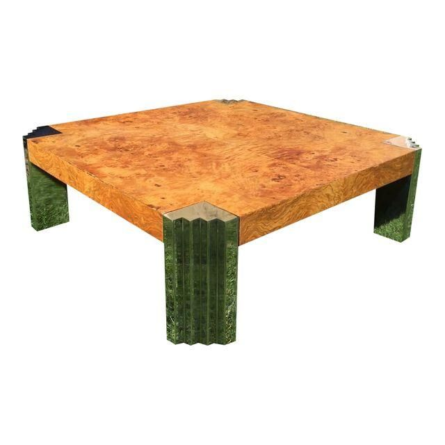 Leon Rosen for Pace Burl Wood and Chrome Coffee Table Coffee
