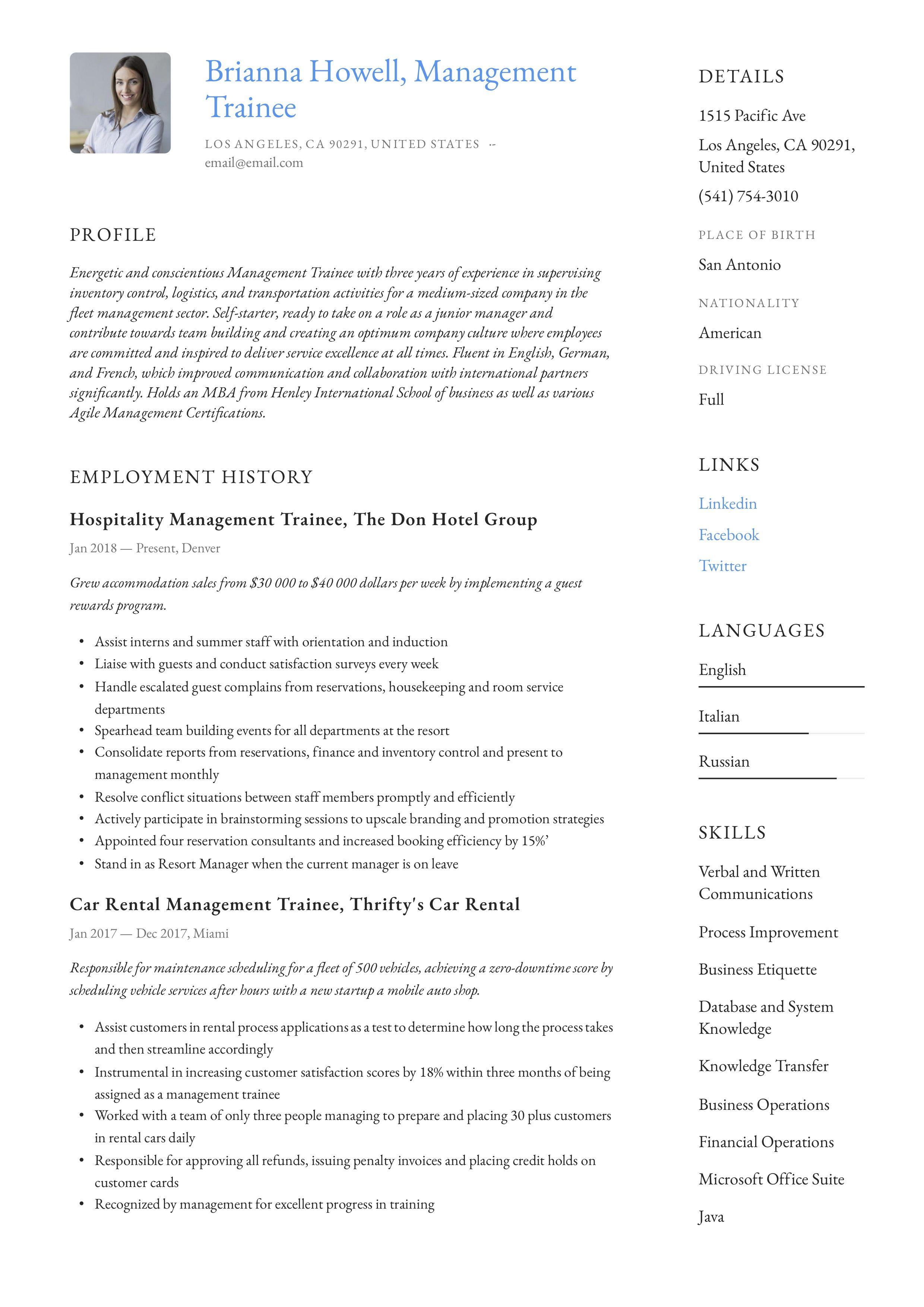 Modern Management Trainee Resume, template, design, tips