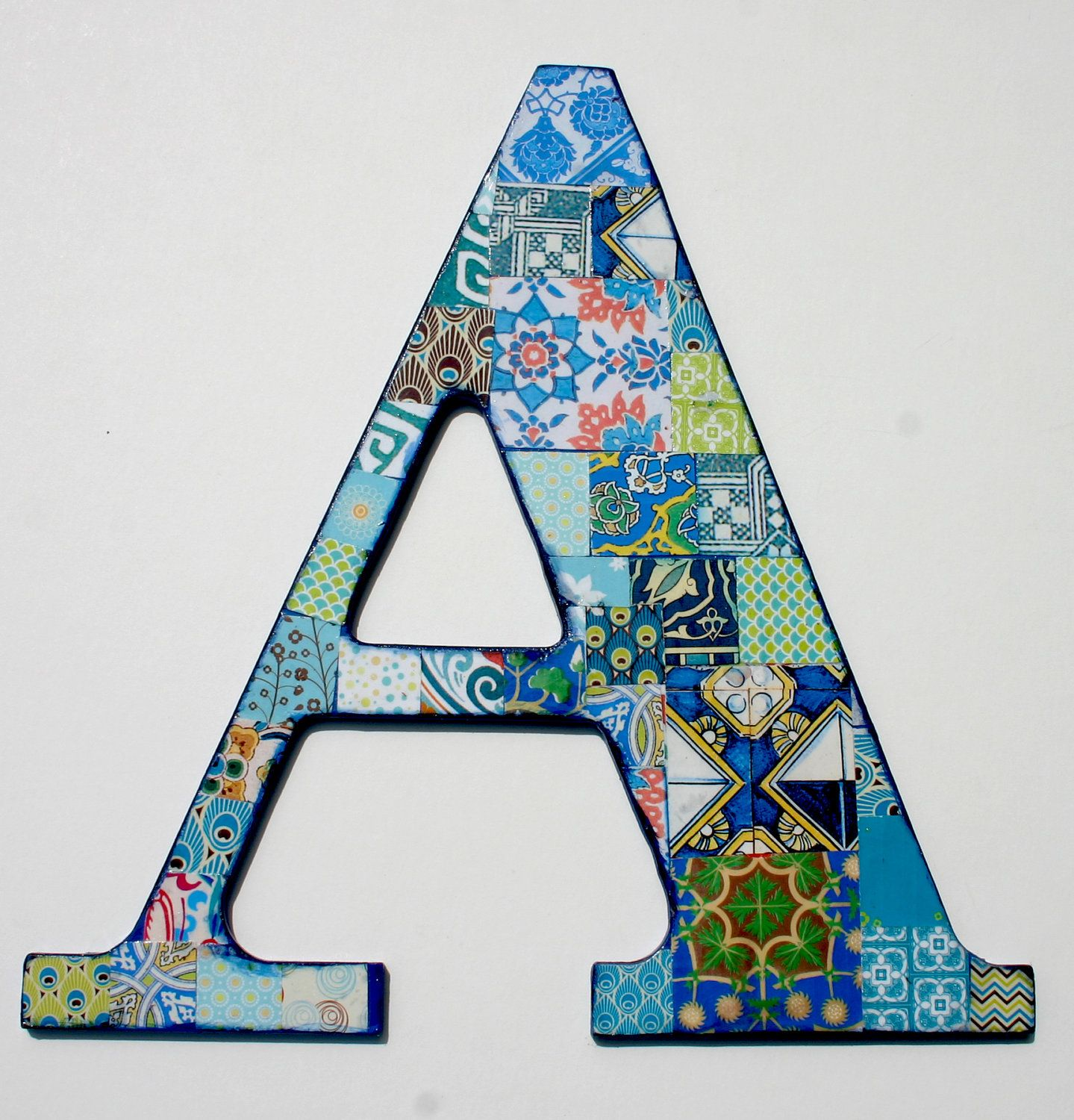 Decorative letter a collaged wall decor a nursery blue for Party wall letter template