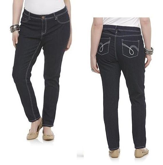 fa1555a4aac26 Bongo Womens Plus Slim Jeans Mid Rise Embroidered Dark Rinse size 14W NEW  16.99 https