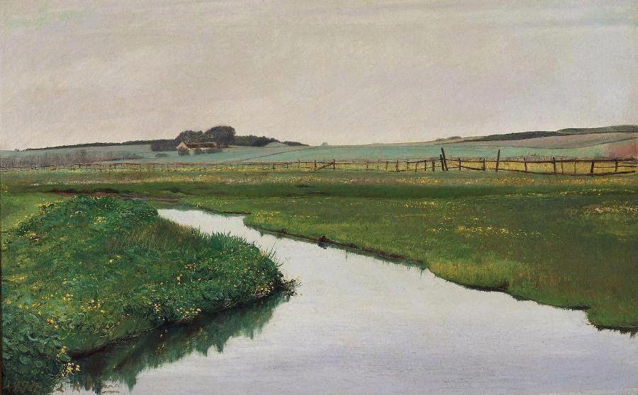"""Laurits Andersen Ring (1854-1933). """"Aaløb gjennem grønne Marker med gule Kabelejer"""". Sign. L. A. Ring 1901. Olie på lærred. 42 x 63 cm."""