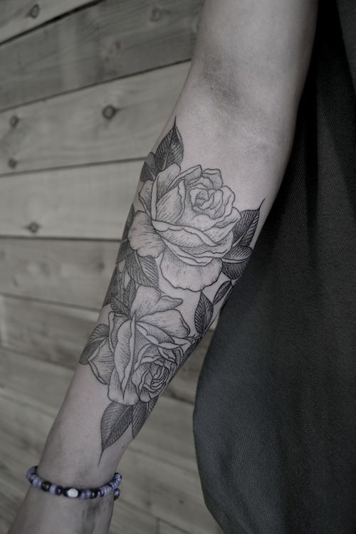 Simple Black And White Rose Tattoo On Arm Tattoomagz Com