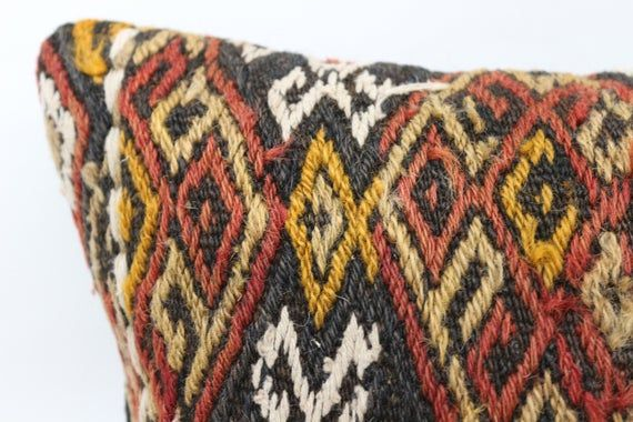 12x12 Kilim Pillow, Oriental Pillow, Embroidered Pillow, Throw Pillow, Red Pillow, Home Design Pillo
