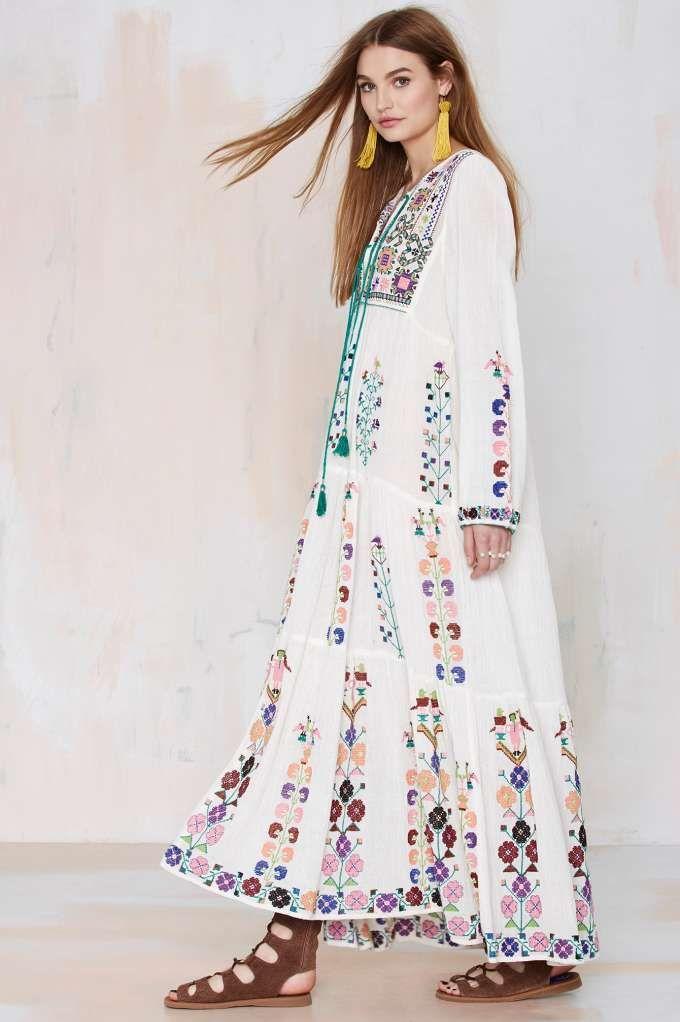 Blue Barcelona Embroidered Dress: