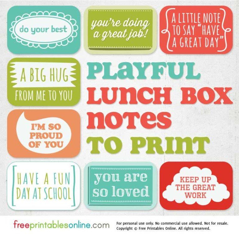 Playful Printable Lunch Box Notes images
