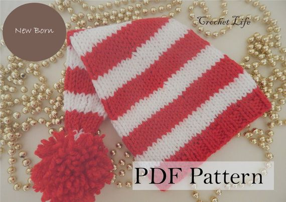 Baby Christmas stocking hat, PDF Pattern, Knitting pattern, Knit baby hat, Newborn Photo prop, Xmas, Knit your own, Elf hat USD 2.49