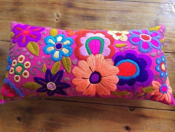 Mexikanische Bestickte Kissen Hand Bestickt Kissen Mit Blumen