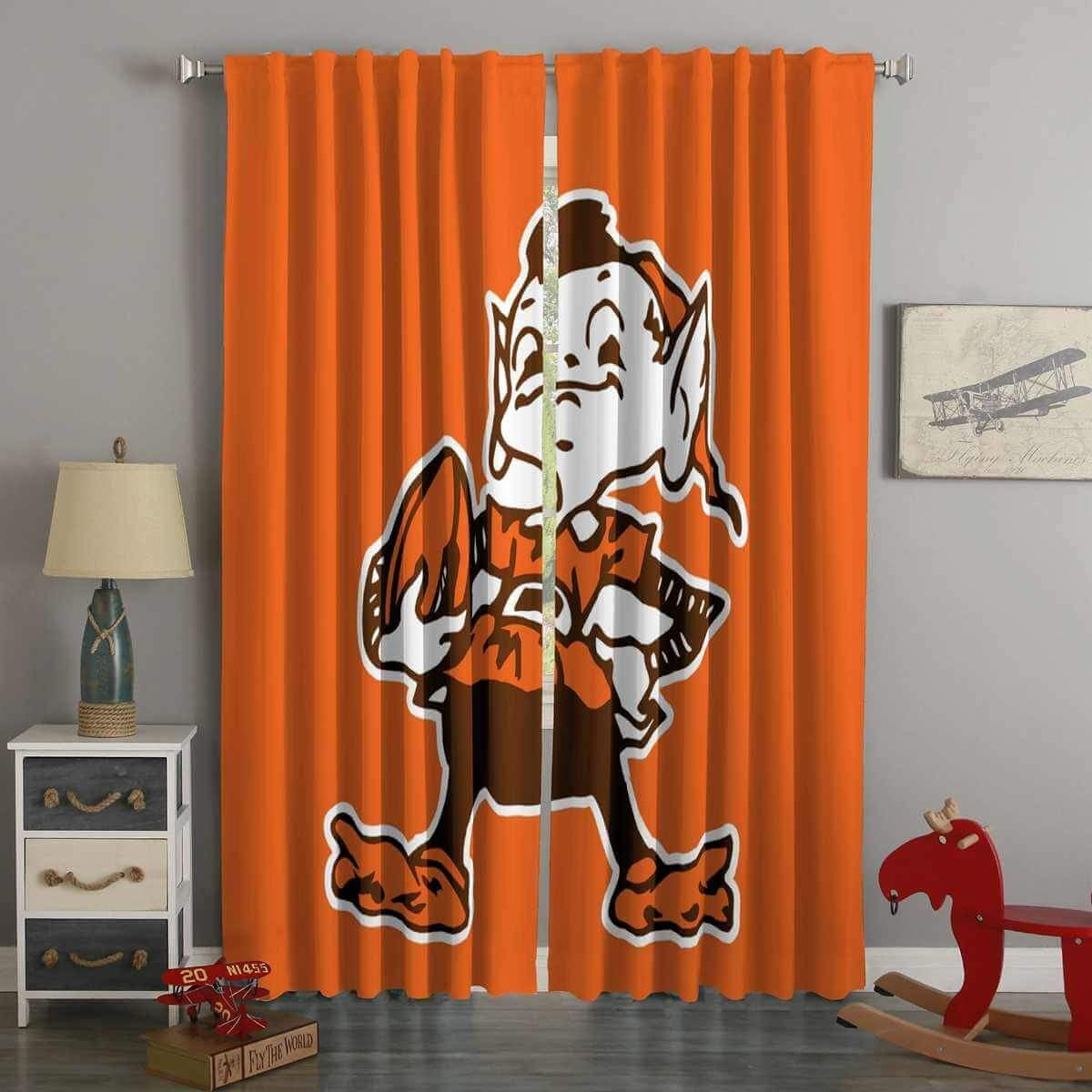3d Printed Cleveland Browns Style Custom Living Room Curtains Curtains Living Room Curtains Custom Curtains