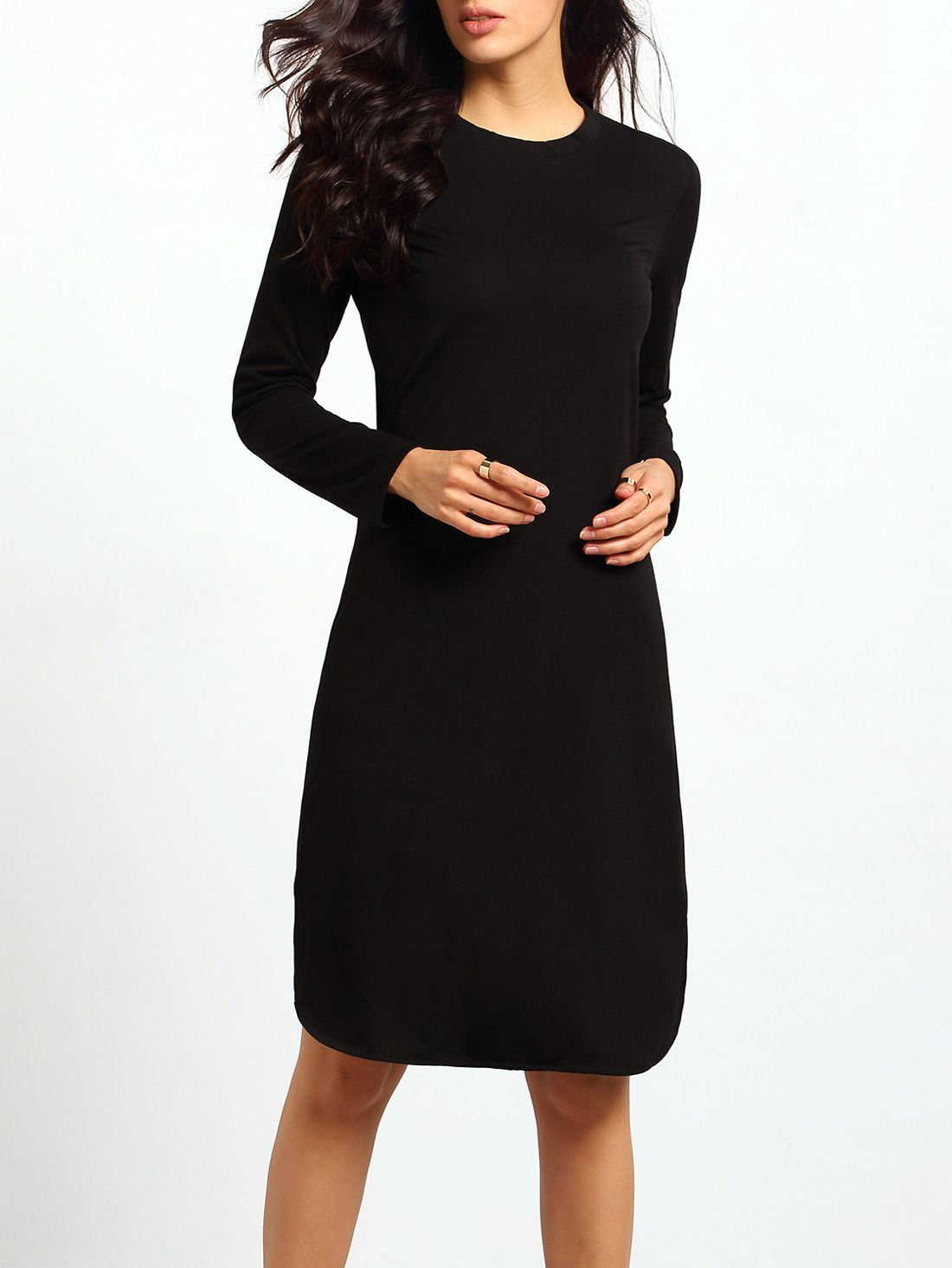 Black Round Neck Split Loose Dress Shein Sheinside Loose Dress Dresses Knee Length Dress [ 1465 x 1100 Pixel ]
