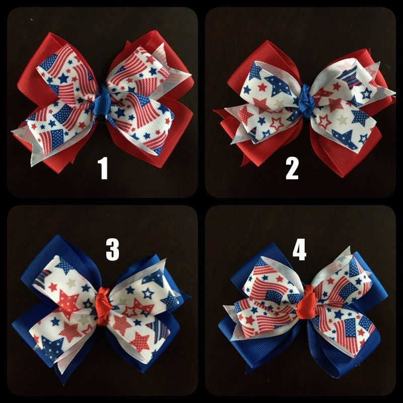 Patriotic Red, White, & Blue Hair Bows (Memorial Day, 4th of July, Labor Day)(4 to choose from and can customize finish) by CreationsByDMPN on Etsy