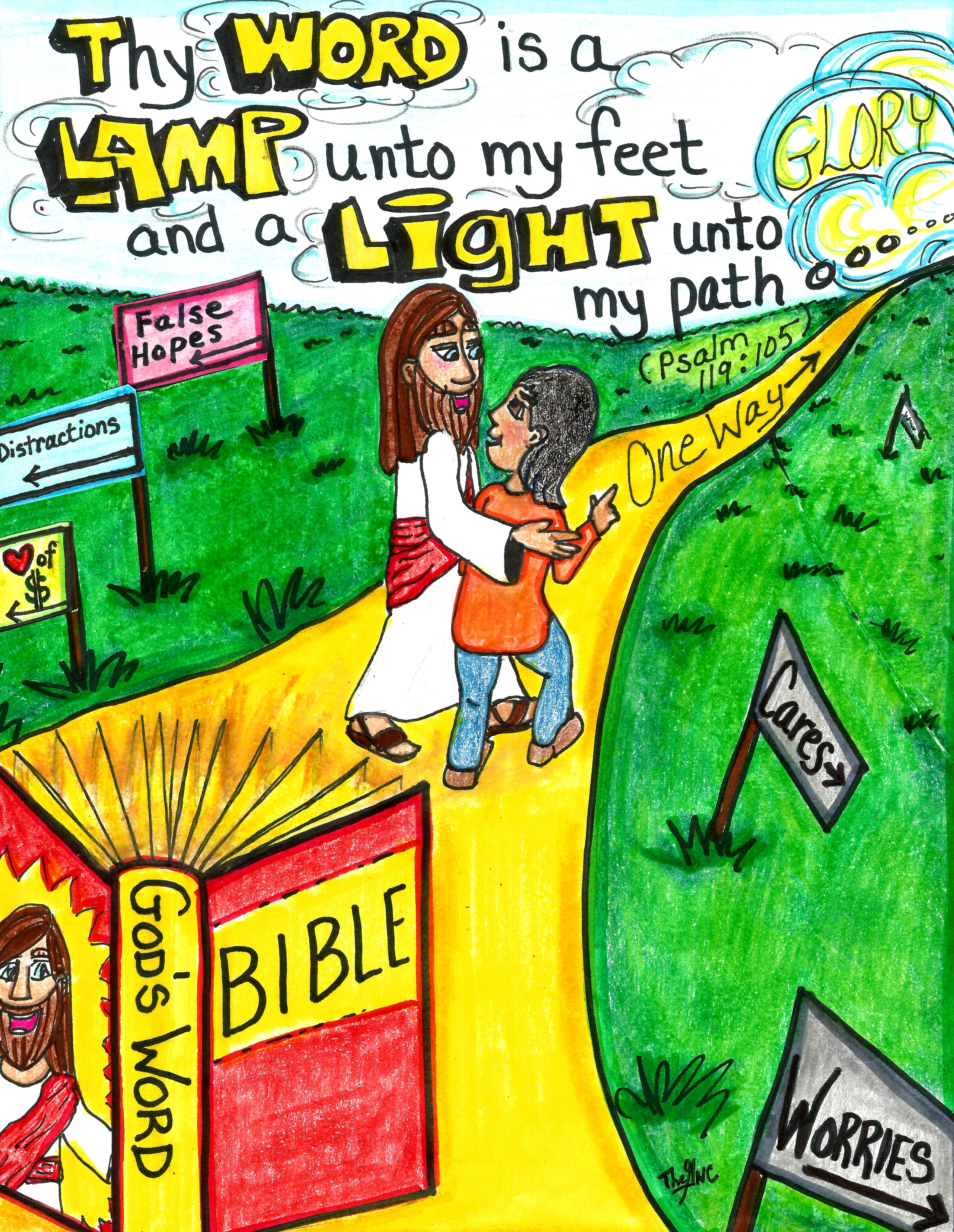His Word is a Lamp unto our feet...  A free Printable Coloring Sheet is available for this picture (and lots of others) on: www.facebook.com/TheGoodNewsCartoon #Coloring Sheets
