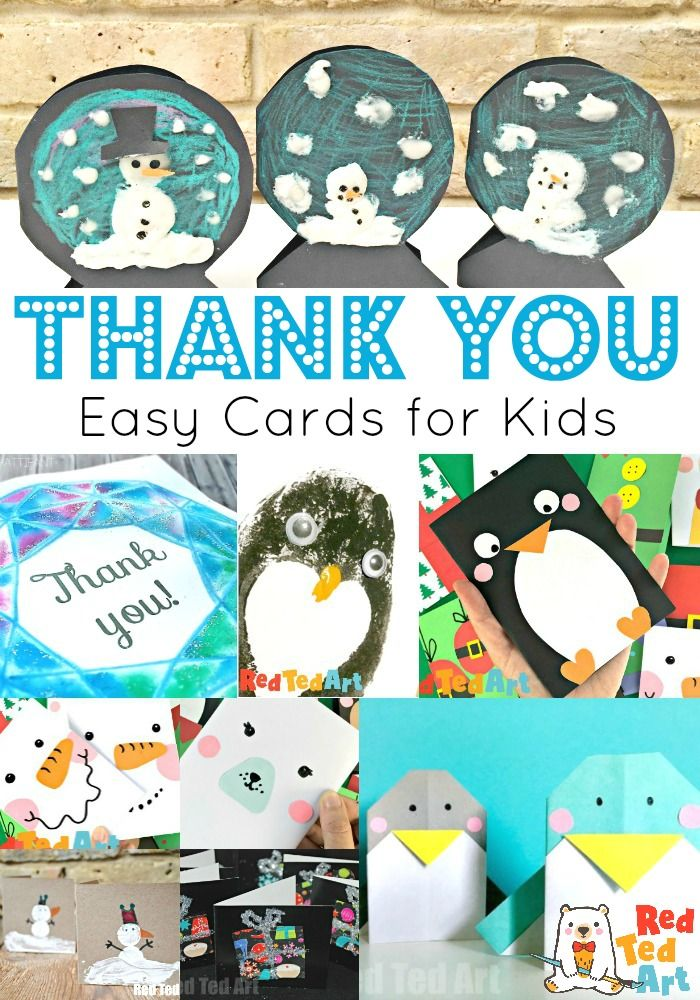 Collage Of Thank You Cards For Kids To Make One of favourite post Christmas pre back to school activities is to create our very own Thank You Cards for friends and relati...