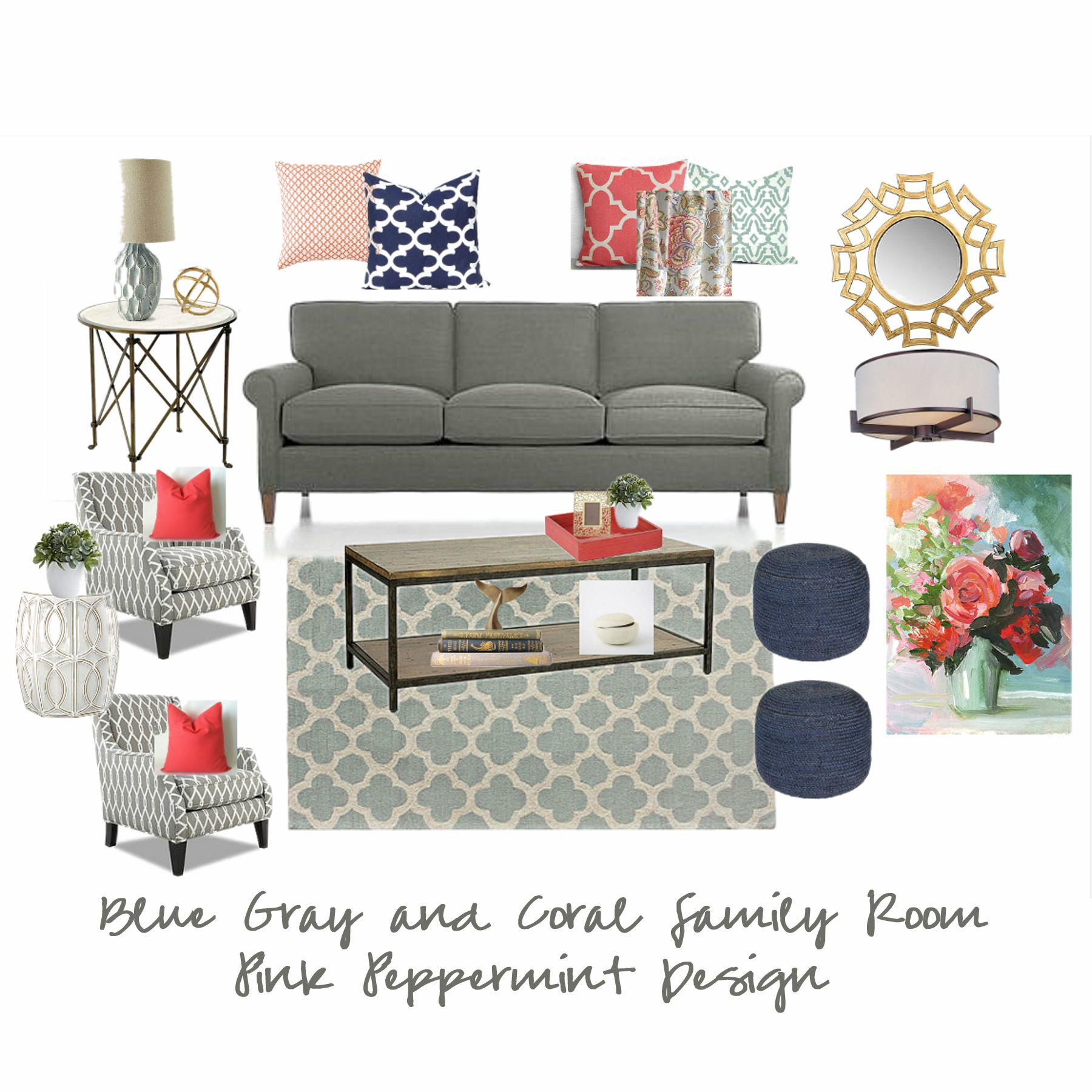 Image Result For Blue And Coral Living Room Family Room Colors Blue Coral Living Room Living Room Decor Gray
