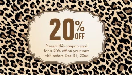 Stylish brown leopard print discount coupon card business cards http girly coupon and promotional discount business cards colourmoves