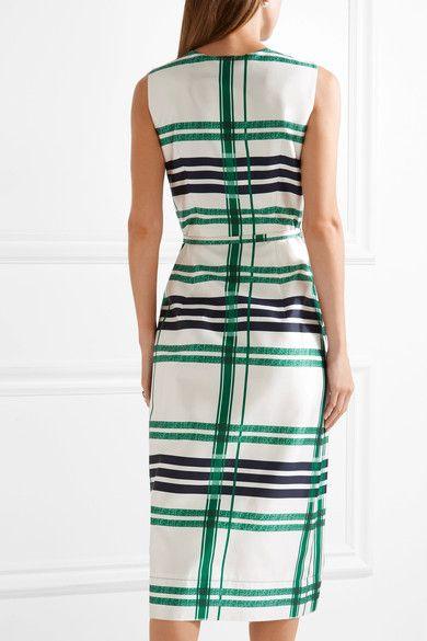 Oscar de la Renta Plaid Silk And Cotton blend Midi Dress