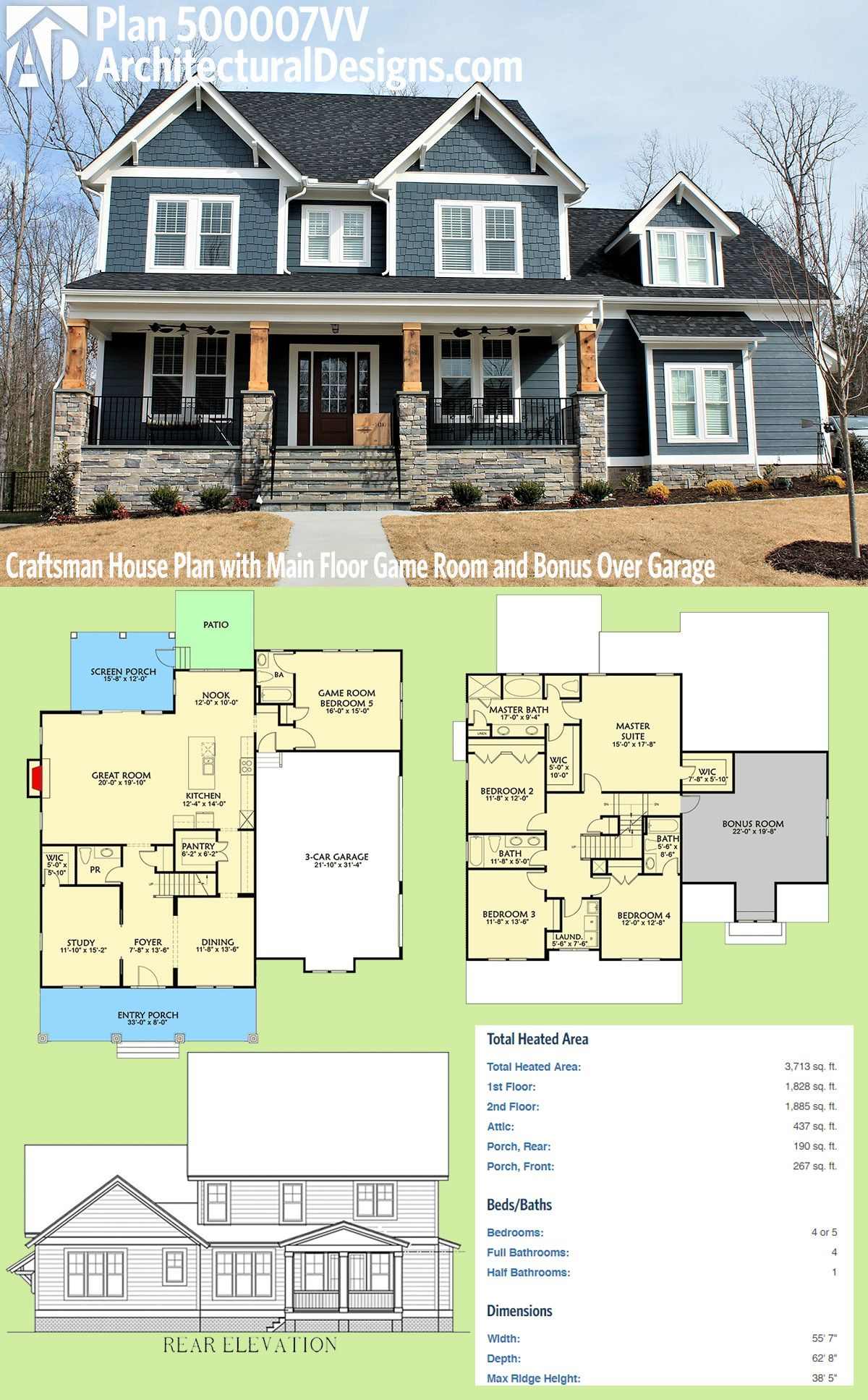 Plan 500007vv craftsman house plan with main floor game for Garage plans with bonus room