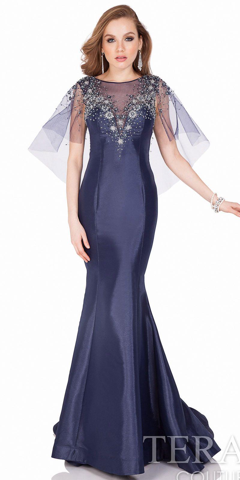 Rhinestone Encrusted Sheer Caplet Mermaid Evening Gown by Terani ...