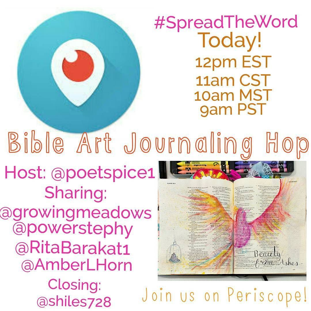 Today is the day!! I'm up early on a Saturday morning because I'm so excited to share in today's Bible art journaling hop!! If you haven't already make sure to click the link in my profile and follow me on Periscope (I'm @powerstephy over there) and grab the periscope mobile app if you don't have it so you'll know when we're live. I'll be sharing out each broadcast as it starts too so you can catch all the fun. These are some of my favorite artists and I'm honored to share alongside them…